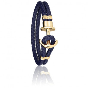 Bracelet Ancre PHREP Acier PVD Or Jaune, Cuir Navy Blue