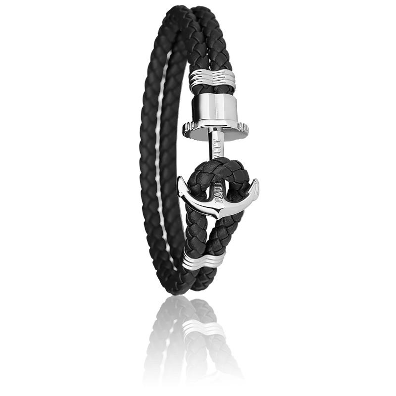 Bracelet Ancre PHREP Acier, Cuir Black