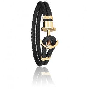 Bracelet Ancre PHREP Acier PVD Or Jaune, Cuir Black
