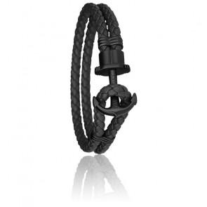 Bracelet Ancre PHREP Acier PVD Noir, Cuir Black