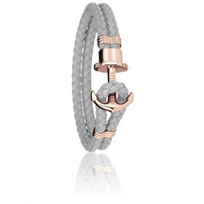 Bracelet Ancre PHREP Acier PVD Or Rose, Cuir Grey