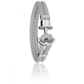 Bracelet Ancre PHREP Acier, Cuir Grey