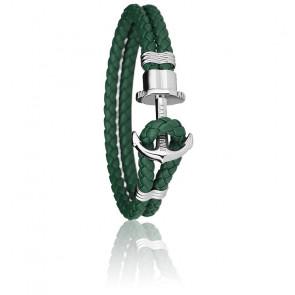 Bracelet Ancre PHREP Acier, Cuir Green