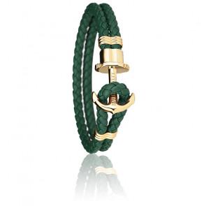 Bracelet Ancre PHREP Acier PVD Or Jaune, Cuir Green