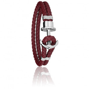 Bracelet Ancre PHREP Acier, Cuir Dark Berry
