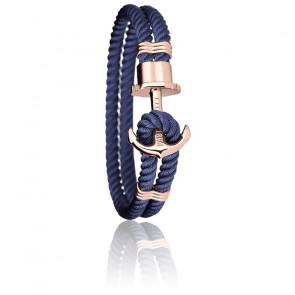 Bracelet Ancre PHREP Acier PVD Or Rose, Nylon Navy Blue
