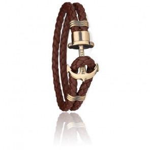 Bracelet Ancre PHREP Laiton, Cuir Brown