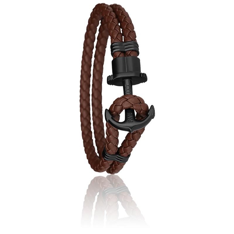 Bracelet Ancre PHREP Acier PVD Noir, Cuir Brown