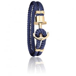 Bracelet Ancre PHREP Acier PVD Or Jaune, Nylon Navy Blue