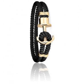 Bracelet Ancre PHREP Acier PVD Or Jaune, Nylon Black