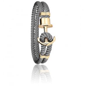 Bracelet Ancre PHREP Acier PVD Or Jaune, Nylon Grey
