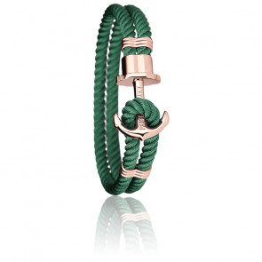 Bracelet Ancre PHREP Acier PVD Or Rose, Nylon Green