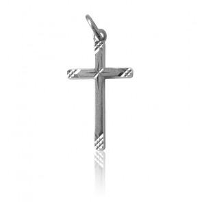 Pendentif Croix Striée Argent