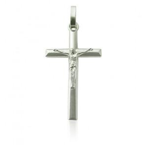 Pendentif Croix Biseautée Christ Argent