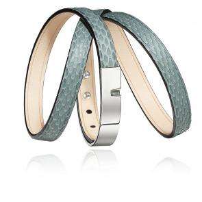 Bracelet U-Turn Triple Cuir Serpent Jade & Acier Argenté