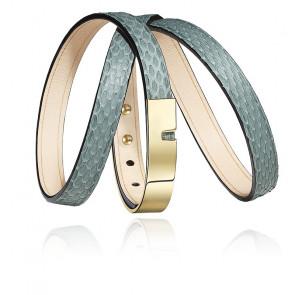 Bracelet U-Turn Triple Cuir Serpent Jade & Acier Doré
