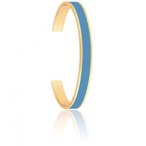 Bracelet Jonc Bangle Bleu Jean Plaqué Or Jaune