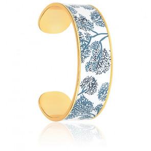 Bracelet Jonc Imprimé Cherry Bleu Jean Plaqué Or Jaune