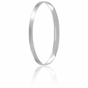 Bracelet Demi Jonc Plat Massif  67 mm Or Blanc 18K