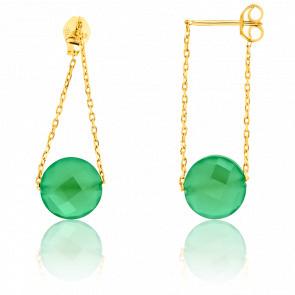 Boucles d'oreilles Indépendance onyx vert & or jaune 18 carats
