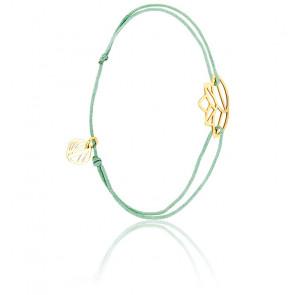 Bracelet Zen Cordon Vert d'Eau & Plaqué Or