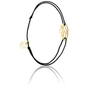 Bracelet Zen Cordon Noir & Plaqué Or