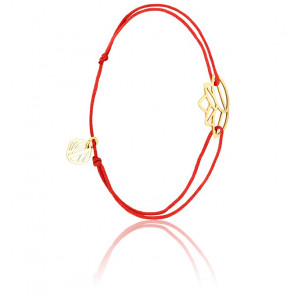 Bracelet Zen Cordon Rouge & Plaqué Or