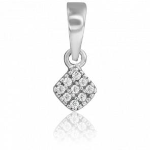 Pendentif Losange Diamanté Or Blanc 18 Carats