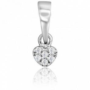 Pendentif Coeur Diamanté Or Blanc 9 Carats