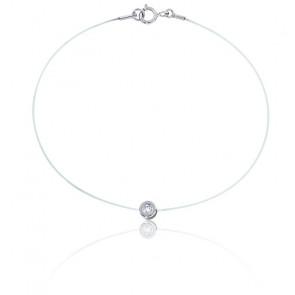 Bracelet Fil de Pêche Diamant & Or Blanc 18K