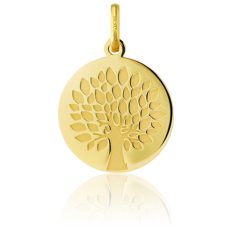Médaille Arbre de Vie Feuillage Or Jaune 18K