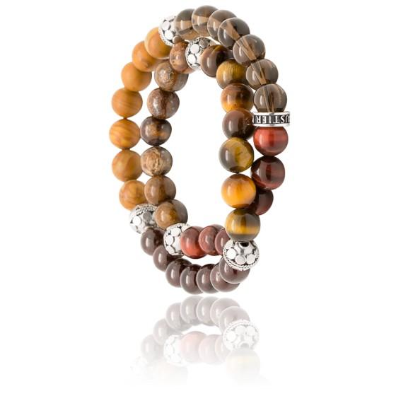 En stock Bracelet Bronze Wrap Œil de Tigre \u0026 Argent