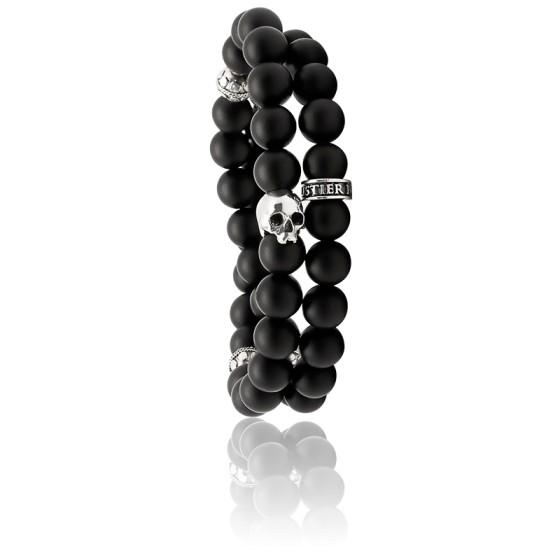 Bracelet Matte Onyx Wrap Onyx & Argent