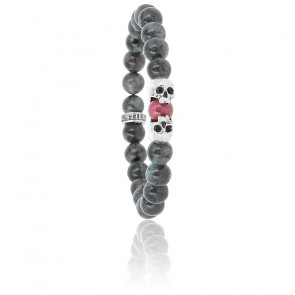 Bracelet Head2Head Larvikite, Rubis & Argent