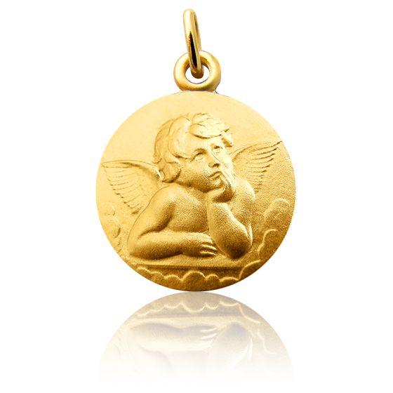 Médaille Ange Raphaël Pensif 18 mm Or Jaune 18K