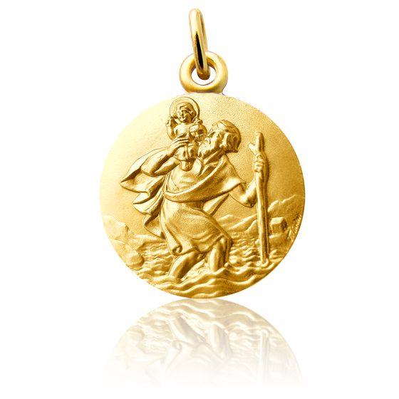 Médaille Saint Christophe Marchant Or Jaune 18K