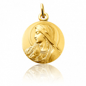 Médaille Vierge Mains Jointes Or Jaune 18K