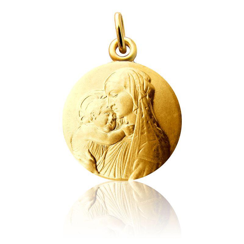 Médaille Vierge A l'Enfant Botticelli Or Jaune 18K