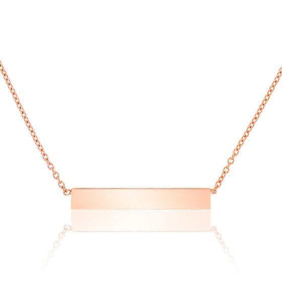 collier femme plaque rectangulaire
