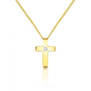 Collier Croix Diamant & Or Jaune 9K