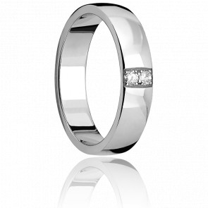 Alliance Céleste Or Blanc 4,50 mm et Diamants
