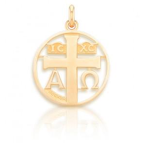Médaille Symbole Croix Ajourée Or Jaune 18K