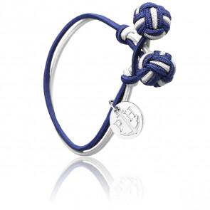 Bracelet Nœud Nylon Bleu Marine, Blanc & Acier