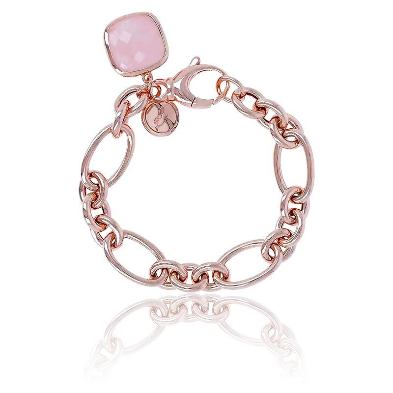 Bracelet Victoria Chaîne & Quartz Rose