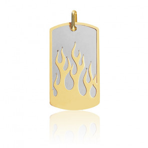 Pendentif Plaque Flamme Acier & Or Jaune 18K