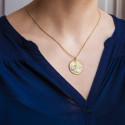 Médaille Arbre de Vie Nacre Blanche & 2 Ors 18K