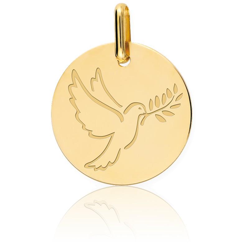 Médaille Colombe Au Rameau Or Jaune