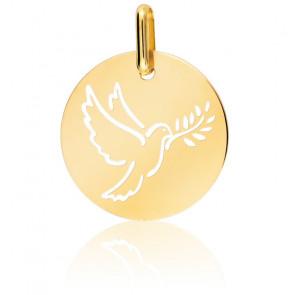 Médaille Colombe Au Rameau Ajourée Or Jaune 16 mm