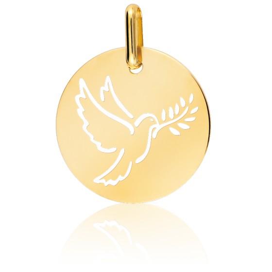 Médaille Colombe Au Rameau Ajourée Or Jaune