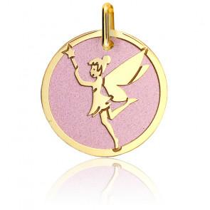 Médaille Fée Clochette Acier Rose & Or Jaune 18K